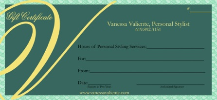 personal stylist gift certificate